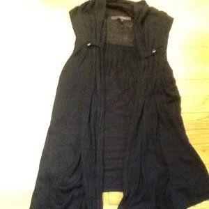 FEVER Long Open Buttonless Black Vest